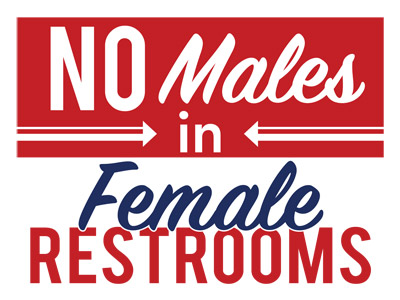 No Males in Female Restrooms Red
